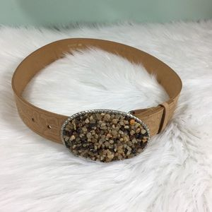 Genuine Tan Leather Silver Buckle with Stones Belt